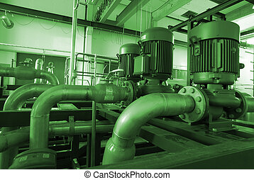 different size and shaped pipes and pumps