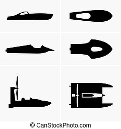 Hydroplane boats, shade pictures