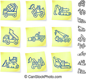 Construction Vehicles on Post It notes Original Vector...