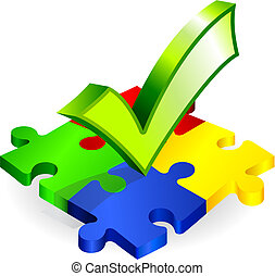 Complete Puzzle with Check Mark Original Vector Illustration...