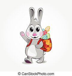 Easter Bunny brings colored eggs Vector illustration -...