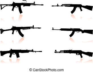 Automatic Gun Set Original Vector Illustration Weapons Ideal...