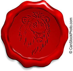 Lion on Wax Seal Origianl Vector Illustration Wax Seal...