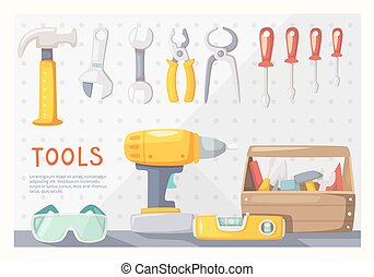 Garage tools layout - Colorful poster with carpenters tools...