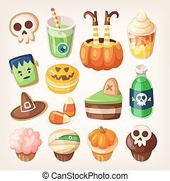 Halloween treats. - Set of colorful halloween party snacks...