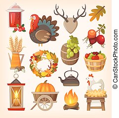 Thanksgiving day elements - Set of colorful vector graphic...