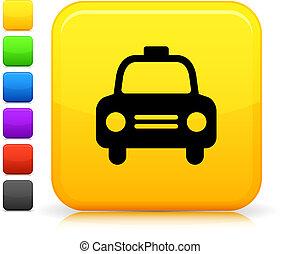 taxi, taxi, icono, cuadrado, internet, botón