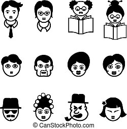 Set of Multi Cultural Faces Original Vector Illustration...