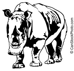 Rhinoceros - Black and White Rhinoceros - Drawing...
