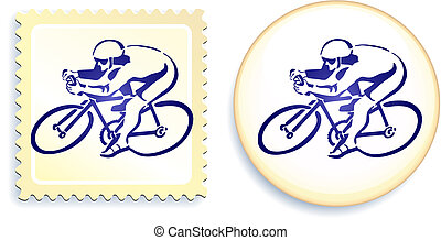 Cyclist on Stamp and Button Set
