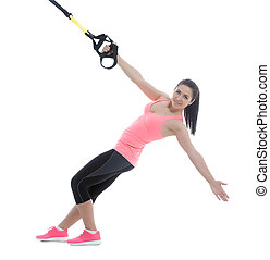 Fitness exercises - Athletic woman with functional loops for...