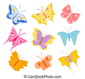 cartoon butterflies - set of cartoon butterflies