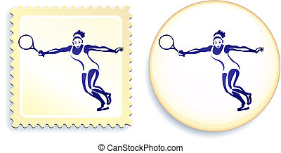 Tennis player on stamp and button set