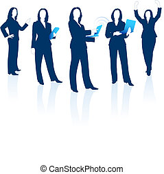 Young business woman silhouettes - Original Vector...