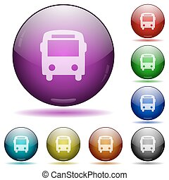 Bus glass sphere buttons - Set of color bus glass sphere...