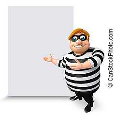 Illustration of Thief with white board - 3D Rendered...