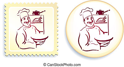 Chef on Button and Stamp Set
