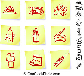 Firefighter Equipment on Post it Notes Original Vector...