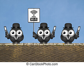 Free Wi Fi - Comical birds on their mobile phone utilising...