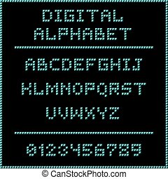 Blue digital alphabet