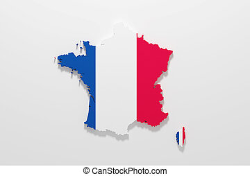 Silhouette of France with french flag - 3d rendering of...