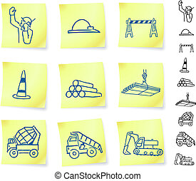 Construction Signs on Post it Notes Original Vector...