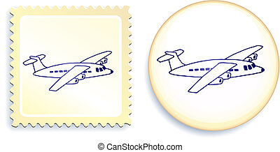Airplane on Button and Stamp Set Original Vector...