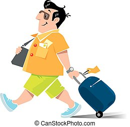 Funny air passenger with suitcase - Vector illustration of...