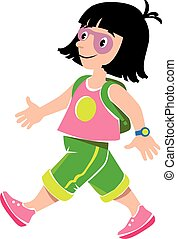 Funny girl passenger with backpack - Vector illustration of...