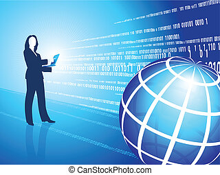 business woman silhouette on digital background