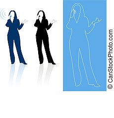 Young business woman silhouettes