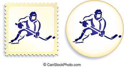Hockey player on button and stamp Set