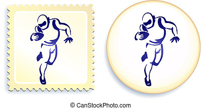 American Football player on Stamp and Button Set