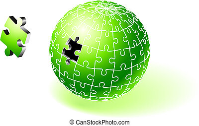 Incomplete Green Globe Puzzle Original Vector Illustration...