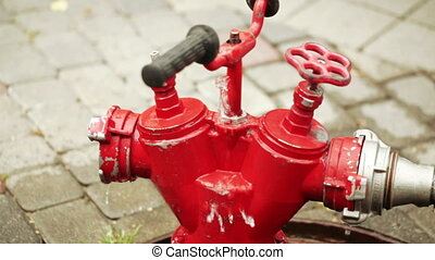Red fire hydrant summer - Current red crane firefighters...