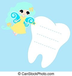 Cute cartoon Fairy smiling, Princess Card little happy Tooth Fairy, white on a blue background, teeth vector icon illustration, first tooth logo, mockup, place for text