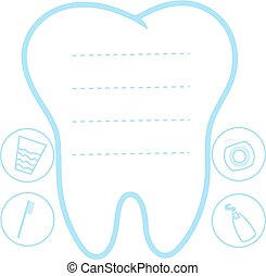 Tooth white and blue background, teeth vector icon illustration, first tooth logo, mockup, place for text, dental care concept