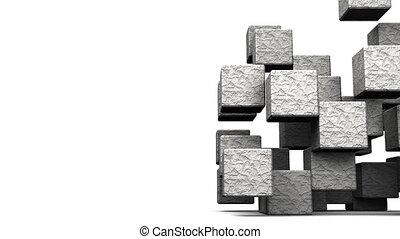 Stone Cube Abstract On White - Loop Able Stone Cube Abstract...