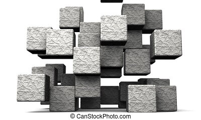 Stone Cube Abstract On White Background.Abstract 3D render...