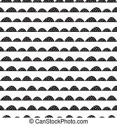 Scandinavian seamless black and white pattern in hand drawn style.