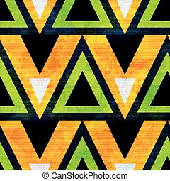 green and orange geometric polygons seamless pattern