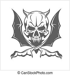 Demon Skull on white - Demon scary Skull isolated on white...