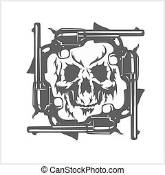 Gangster skull and frame of pistols. Vector.