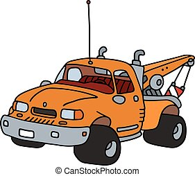 Breakdown service vehicle - Hand drawing of a funny orange...