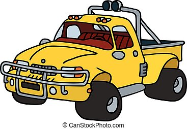 Funny yellow pick-up - Hand drawing of a funny yellow...