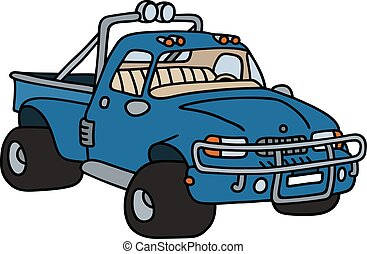 Funny blue pick-up - Hand drawing of a funny blue pick-up -...