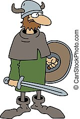 Funny old viking warrior - Hand drawing of a funny old...