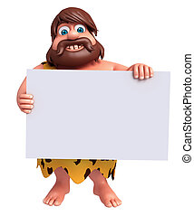 Cartoon caveman with a white board - 3D Rendered...