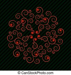 Red curly pattern with green lines - ornament with red curls...