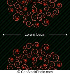 up and down red curly pattern on card with green lines -...